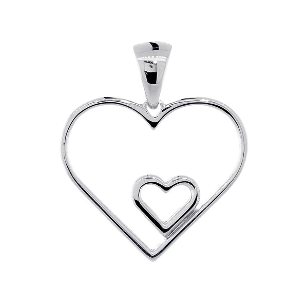 19mm Open Double Heart Charm in 14K White Gold