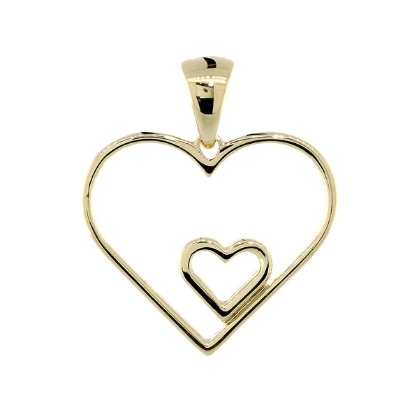 19mm Open Double Heart Charm in 14K Yellow Gold