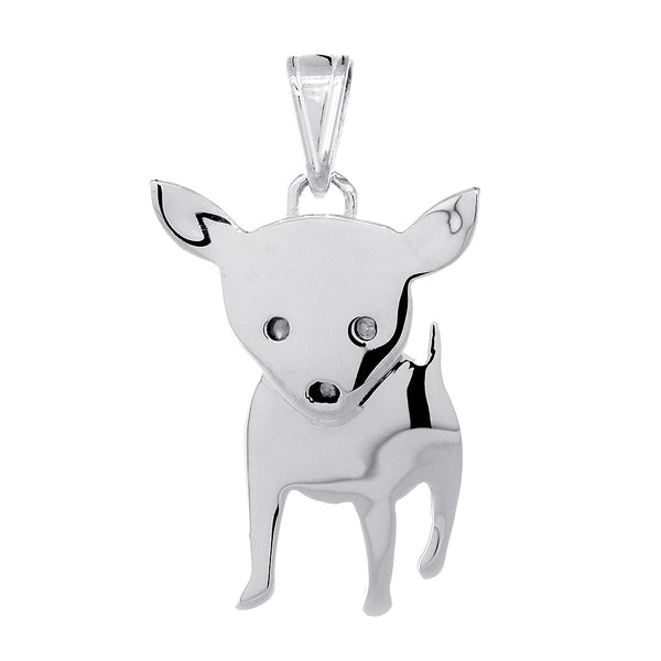 30mm Movable Chihuahua Dog Charm in Sterling Silver