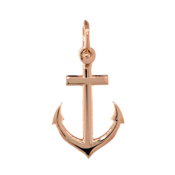 19mm Anchor Charm in 14k Pink, Rose Gold