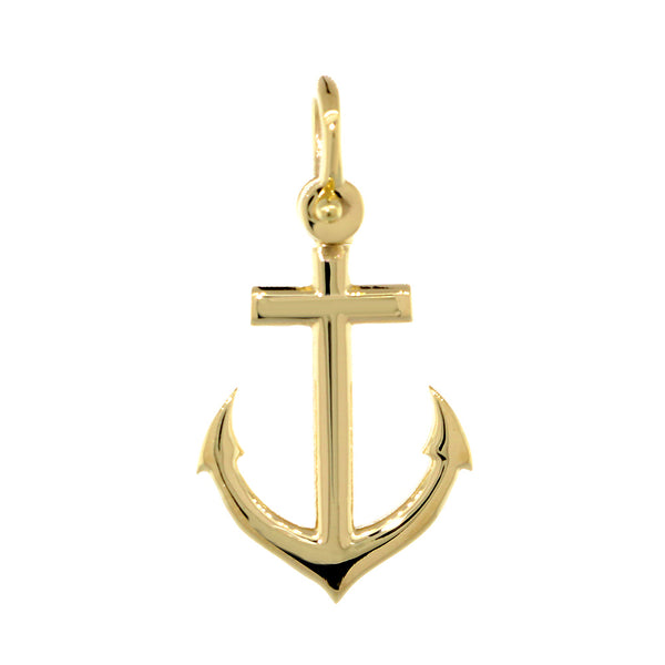 19mm Anchor Charm in 14k Yellow Gold