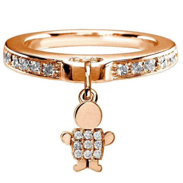 Mini Diamond Sziro Boy Charm Ring in 14k Pink Gold