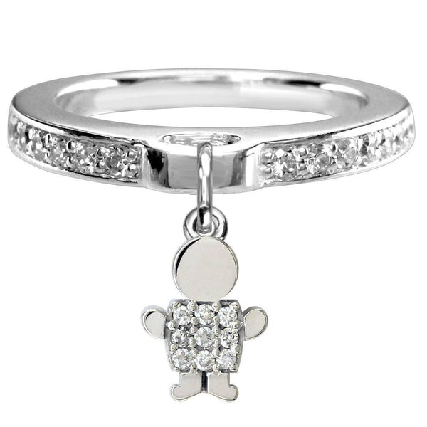 Mini Diamond Sziro Boy Charm Ring in 18k White Gold