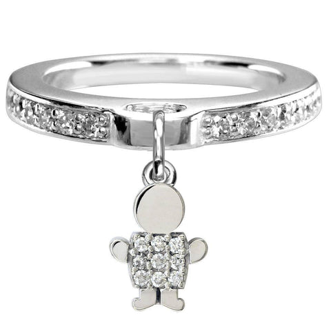Mini Cubic Zirconia Sziro Boy Charm Ring in 14k White Gold