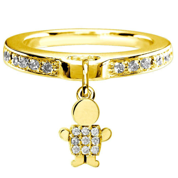 Mini Diamond Sziro Boy Charm Ring in 14k Yellow Gold