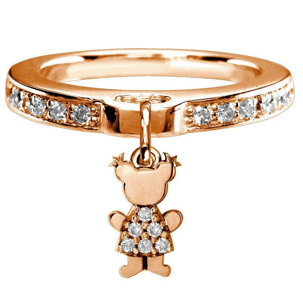 Mini Diamond Sziro Girl Charm Ring in 14k Pink Gold