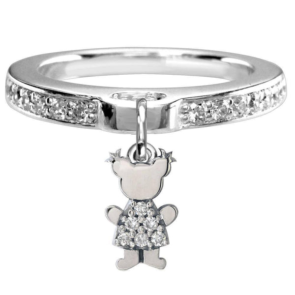 Mini Cubic Zirconia Sziro Girl Charm Ring in 14k White Gold