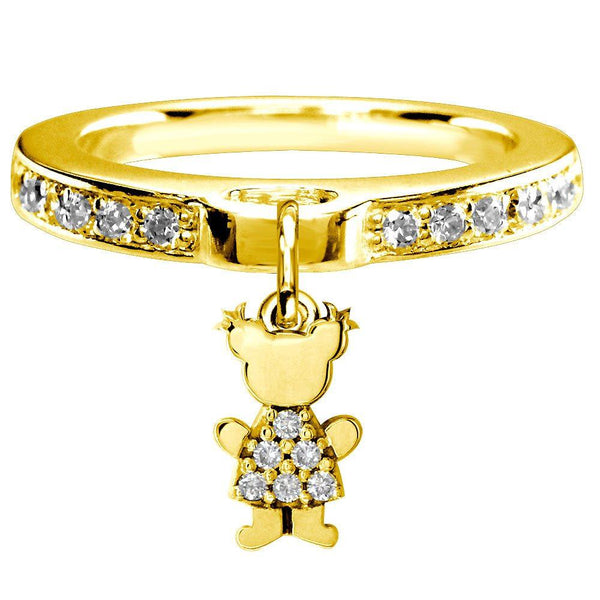 Mini Diamond Sziro Girl Charm Ring in 14k Yellow Gold