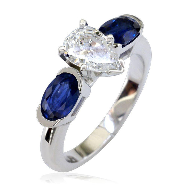 Diamond Pear Engagement Ring with Oval Sapphire Sides E/W-CU1006