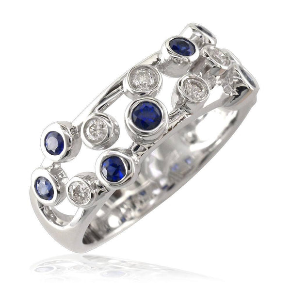 Band Of Scattered Diamond and Sapphire Bezels LR-CU1018