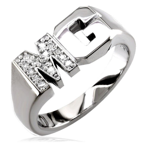 Diamond Initials Ring MR-CU1048