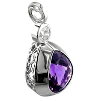 Large Pear Amethyst Pendant in 14K White Gold