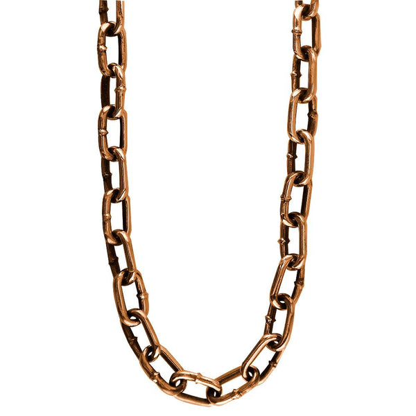 Mens Hardware Oval Link Chain with Black in 14k Pink, Rose Gold, 22 Inches Long