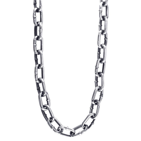 Mens Hardware Oval Link Chain with Black, 22 Inches Long in 14K White Gold