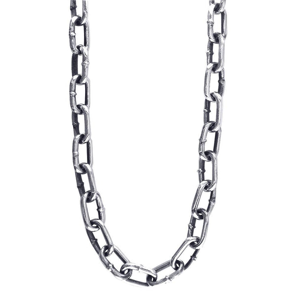 Mens Hardware Oval Link Chain with Black, 22 Inches Long in Sterling Silver