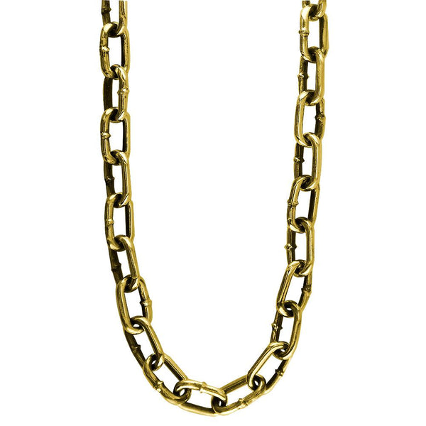 Mens Hardware Oval Link Chain with Black, 22 Inches Long in 14K Yellow Gold
