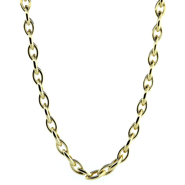 "Rounded Marquise Shape Link Chain, 22"" Inch in 14K Yellow Gold"