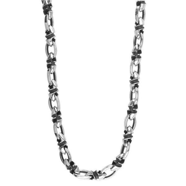 Mens Medium Size Twisted Bullet Link and Open Oval Link Chain in Sterling Silver with Black, 22 Inches