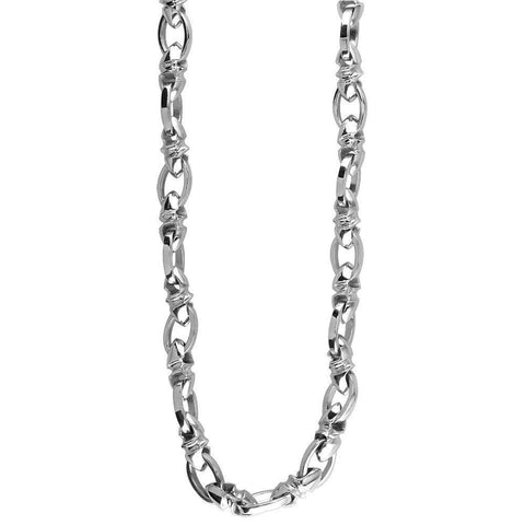 Mens Medium Size Twisted Bullet Link and Open Oval Link Chain in Sterling Silver, 24 Inches