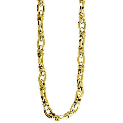 Mens Medium Size Twisted Bullet Link and Open Oval Link Chain in 14k Yellow Gold, 24 Inches