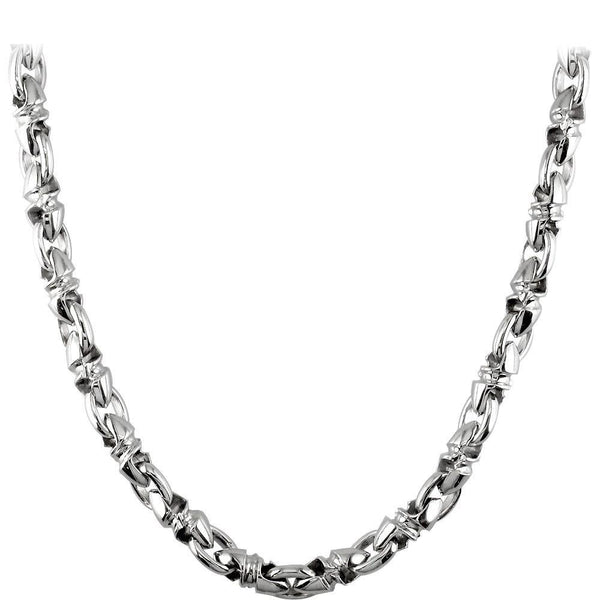 Mens Medium Size Twisted Bullet Link Chain in Sterling Silver, 24 Inches