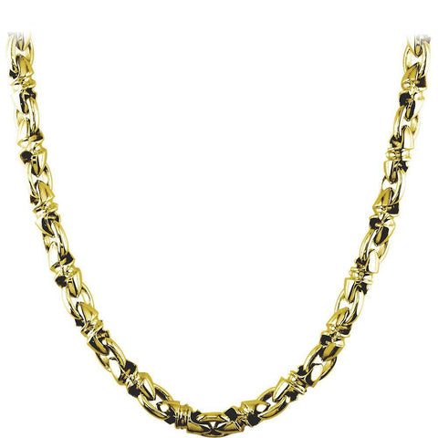 Mens Medium Size Twisted Bullet Link Chain in 14k Yellow Gold, 24 Inches