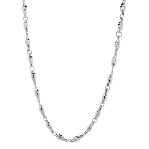 5.5mm Size Fishing Swivel Chain in 14k White Gold, 22 Inches Long