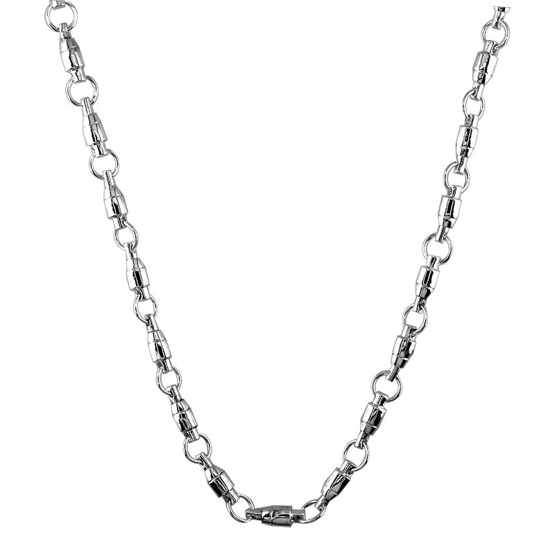 4mm Size Fishing Swivel Chain in Sterling Silver, 22 Inches Long
