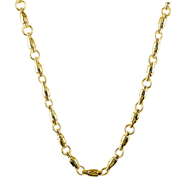 4mm Size Fishing Swivel Chain in 14k Yellow Gold, 22 Inches Long