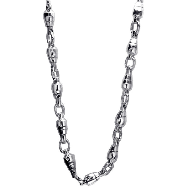 8.5mm Size Fishing Swivel Chain in 14k White Gold, 22 Inches Long