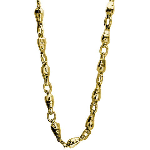 8.5mm Size Fishing Swivel Chain in 14k Yellow Gold, 22 Inches Long