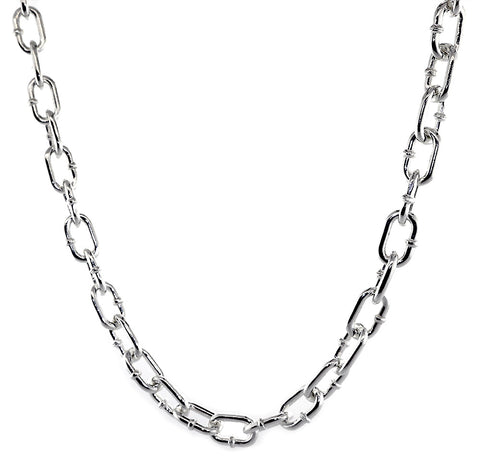 9mm Solid Oval Hardware Link Chain, 24 Inches in Sterling Silver