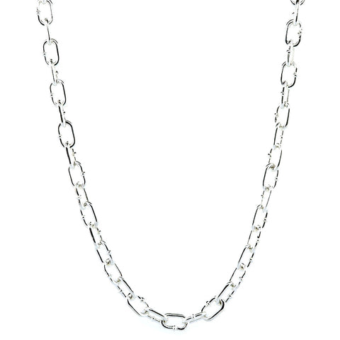 Mens Oval Hardware Link Chain, 7mm Links, 24 Inch in Sterling Silver