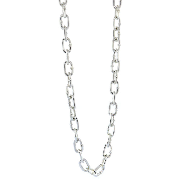 Mens Oval Hardware Link Chain, 6mm Links, 22 Inch in Sterling Silver