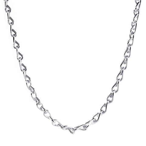 Mens Hardware Link Chain, 24 Inch in Sterling Silver