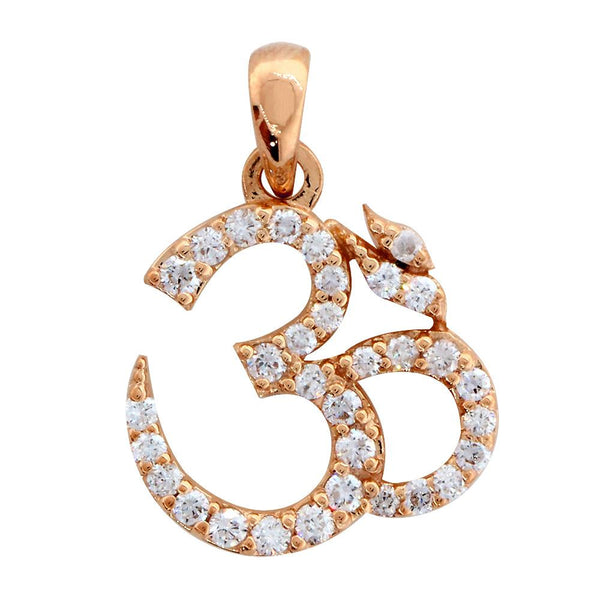Diamond Yoga Ohm, Om, Aum Symbol Charm in 14K Pink Gold