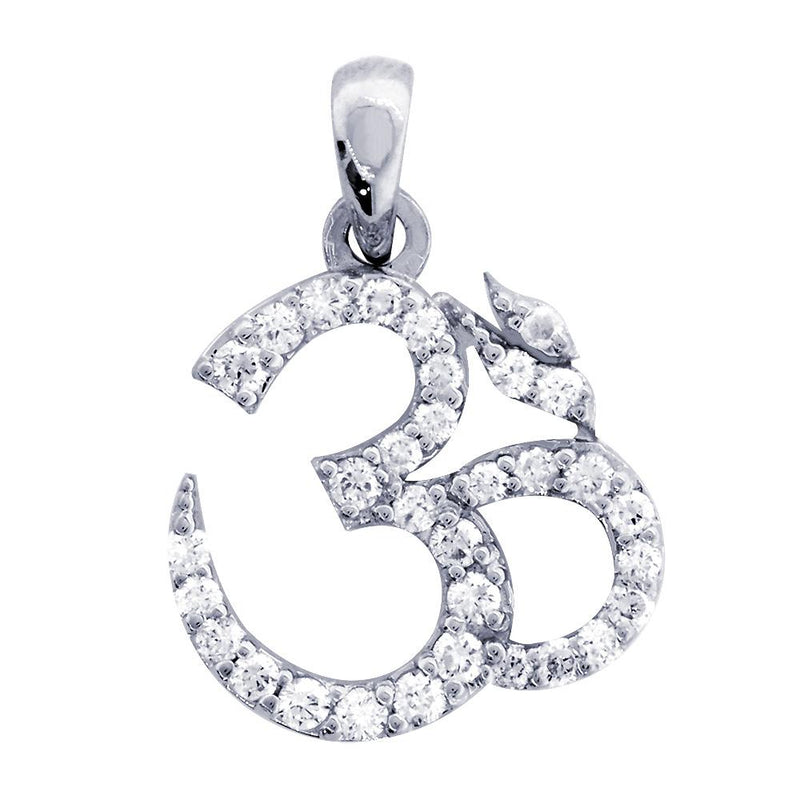 Diamond Yoga Ohm, Om, Aum Symbol Charm in 14K White Gold