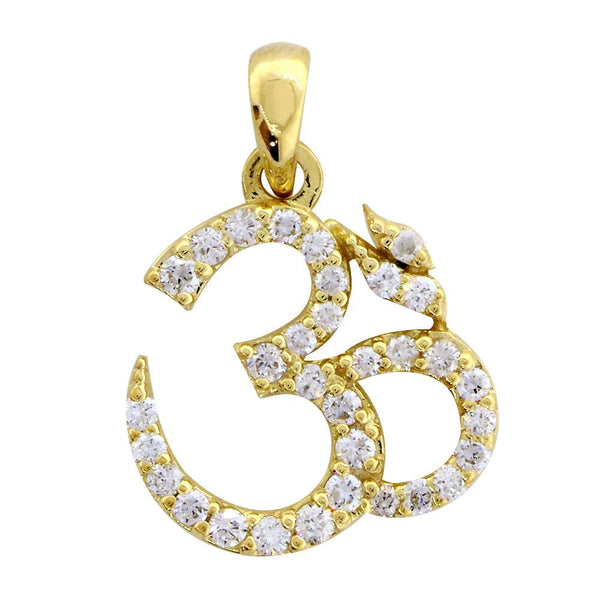 Cubic Zirconia Yoga Ohm, Om, Aum charm jewelry in 14K yellow gold