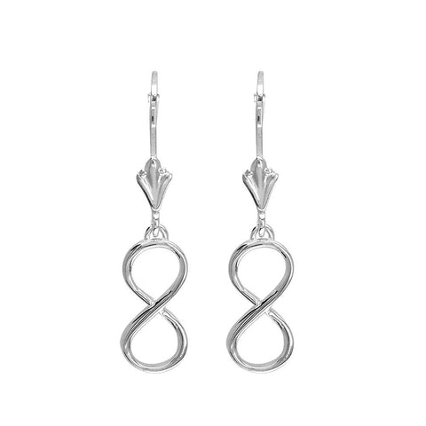 Medium Infinity Leverback Earrings in 14k White Gold