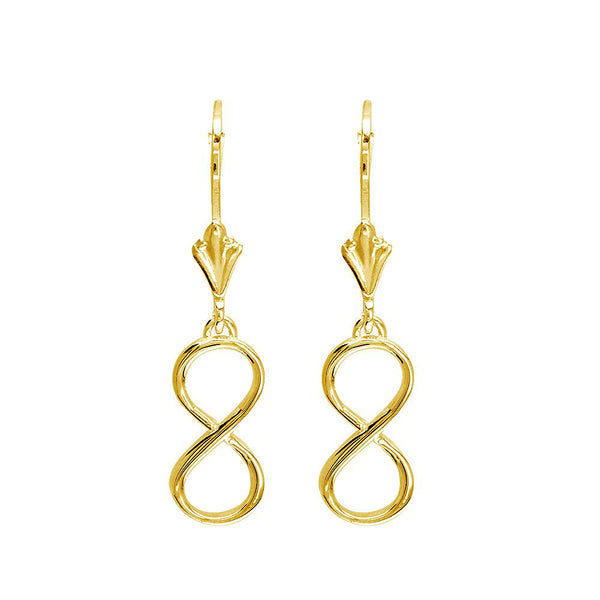 Medium Infinity Leverback Earrings in 14k Yellow Gold