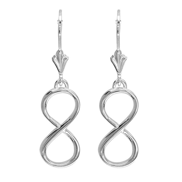 Large Infinity Leverback Earrings in 14k White Gold