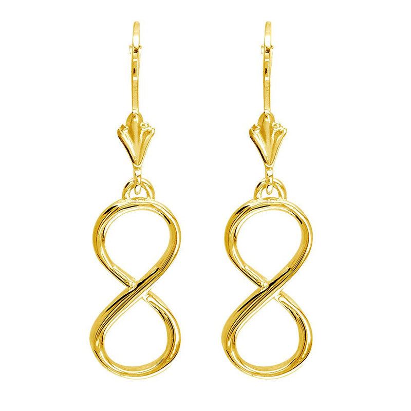 Large Infinity Leverback Earrings in 14k Yellow Gold