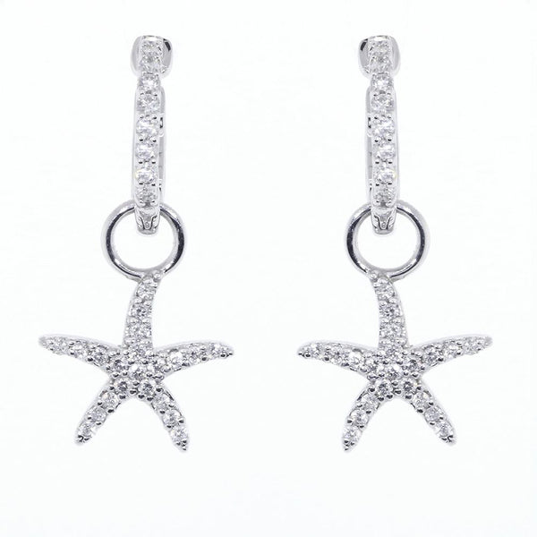 Diamond Starfish Earrings for Hoops, 0.45CT in 14k White Gold