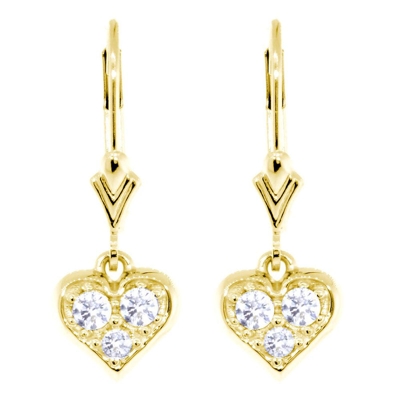 Diamond Heart Earrings with Lever Backs, 0.33CT in 14k Yellow Gold
