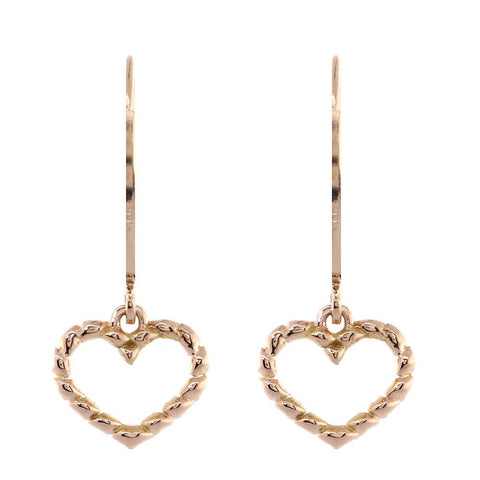 Dangling Open Heart Rope Earrings in 14K Pink, Rose Gold