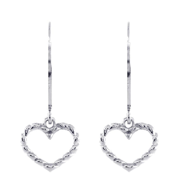 Dangling Open Heart Rope Earrings in 14K White Gold