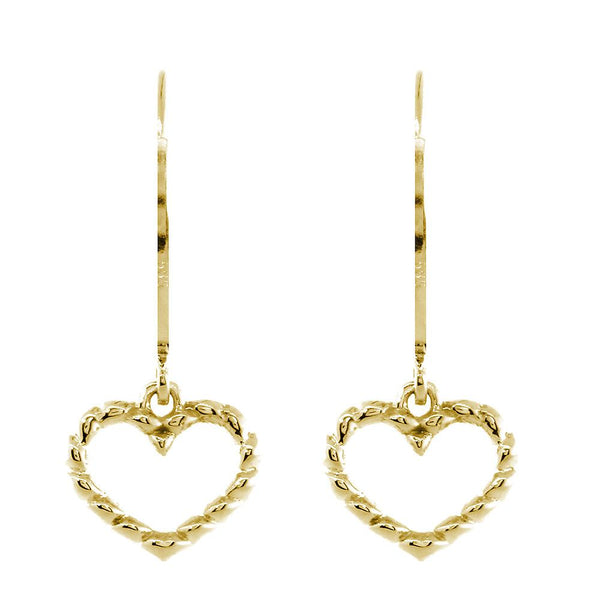 Dangling Open Heart Rope Earrings in 14K Yellow Gold