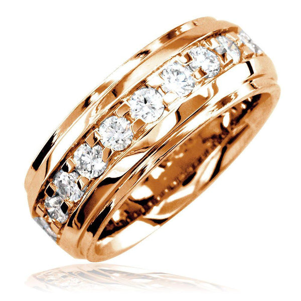 Mens Raised Center Diamond Band with Square Prongs, 1.55CT in 18k Pink Gold