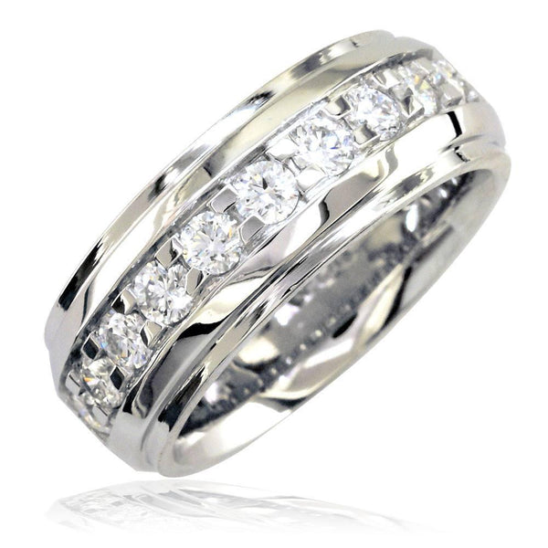 Mens Raised Center Diamond Band with Square Prongs, 1.55CT in 18k White Gold