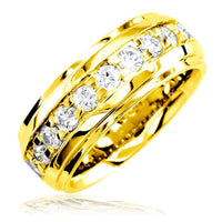 Mens Raised Center Diamond Band with Square Prongs, 1.55CT in 14k Yellow Gold